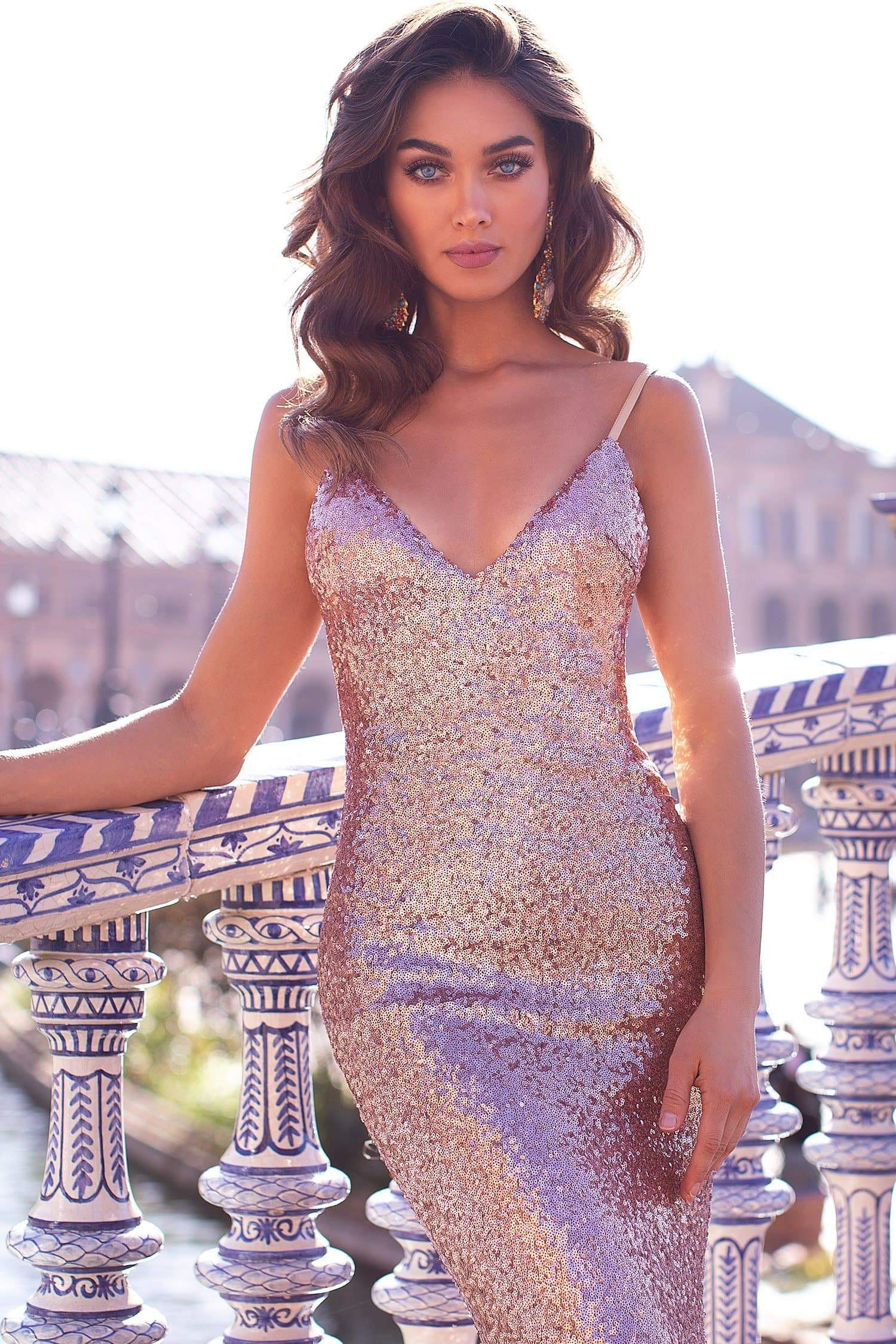 8bba1384 Yassmine Luxe - Rose Gold Sequin Gown with V Plunge Neckline & Train