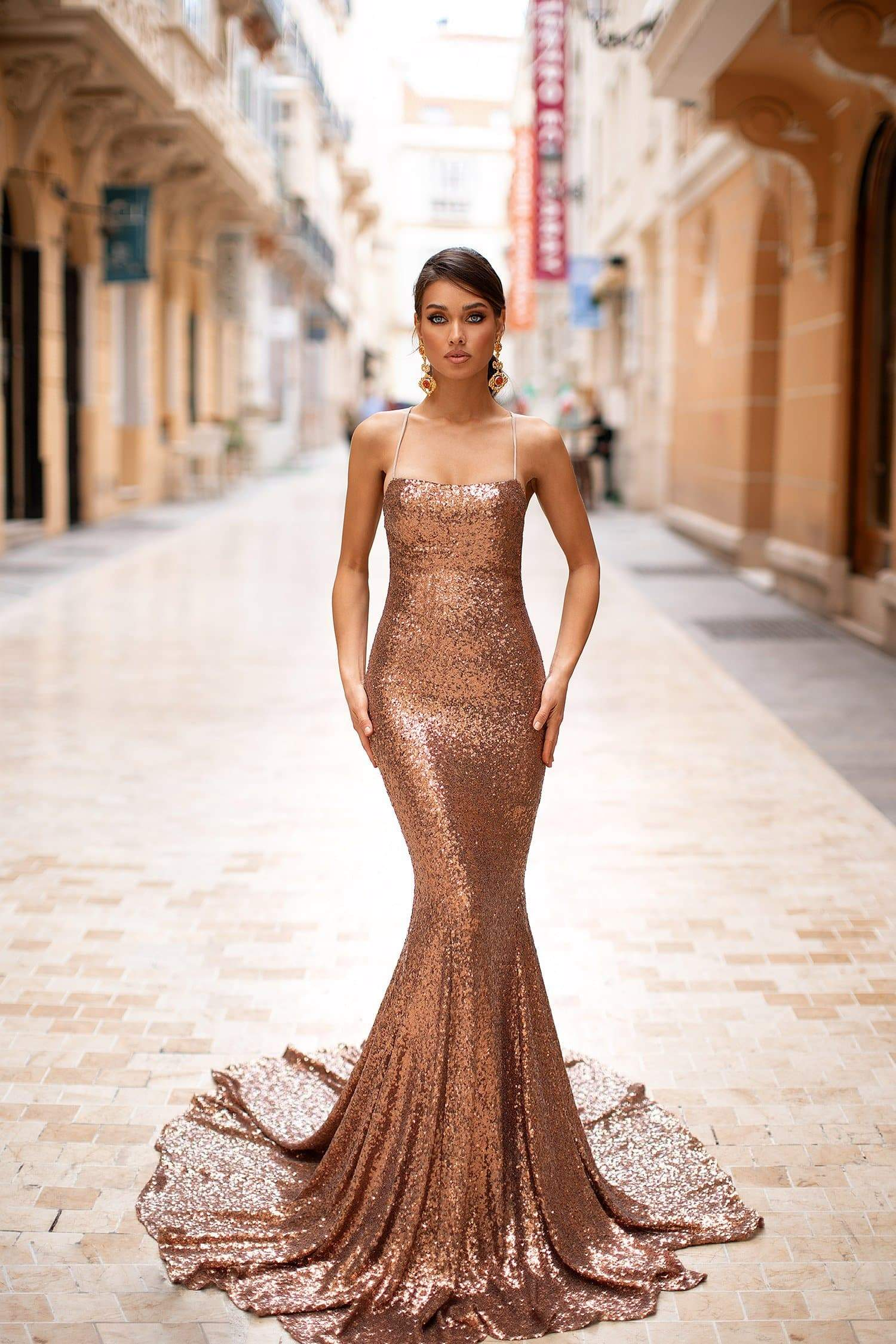 Karmen - Bronze Mermaid Gown with Straight Neckline & Lace-Up Back