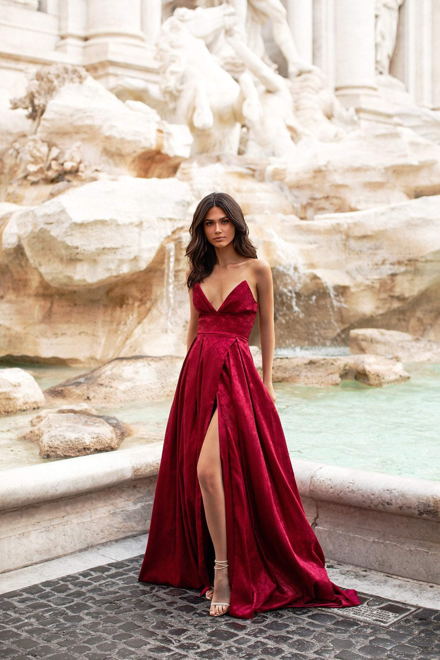 Terina - Jacquard Wine Red Strapless A-line Gown with Side Slit
