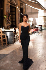 Gulsina - Black Strapless Mermaid Gown with Scoop Neckline