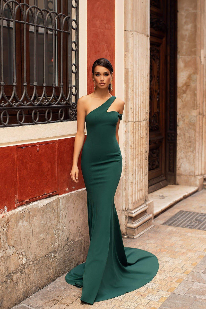 Larena - Emerald Mermaid Gown with Off-Shoulder Sleeve & Train