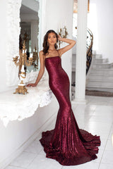 Karmen - Burgundy Mermaid Gown with Straight Neckline & Lace-Up Back