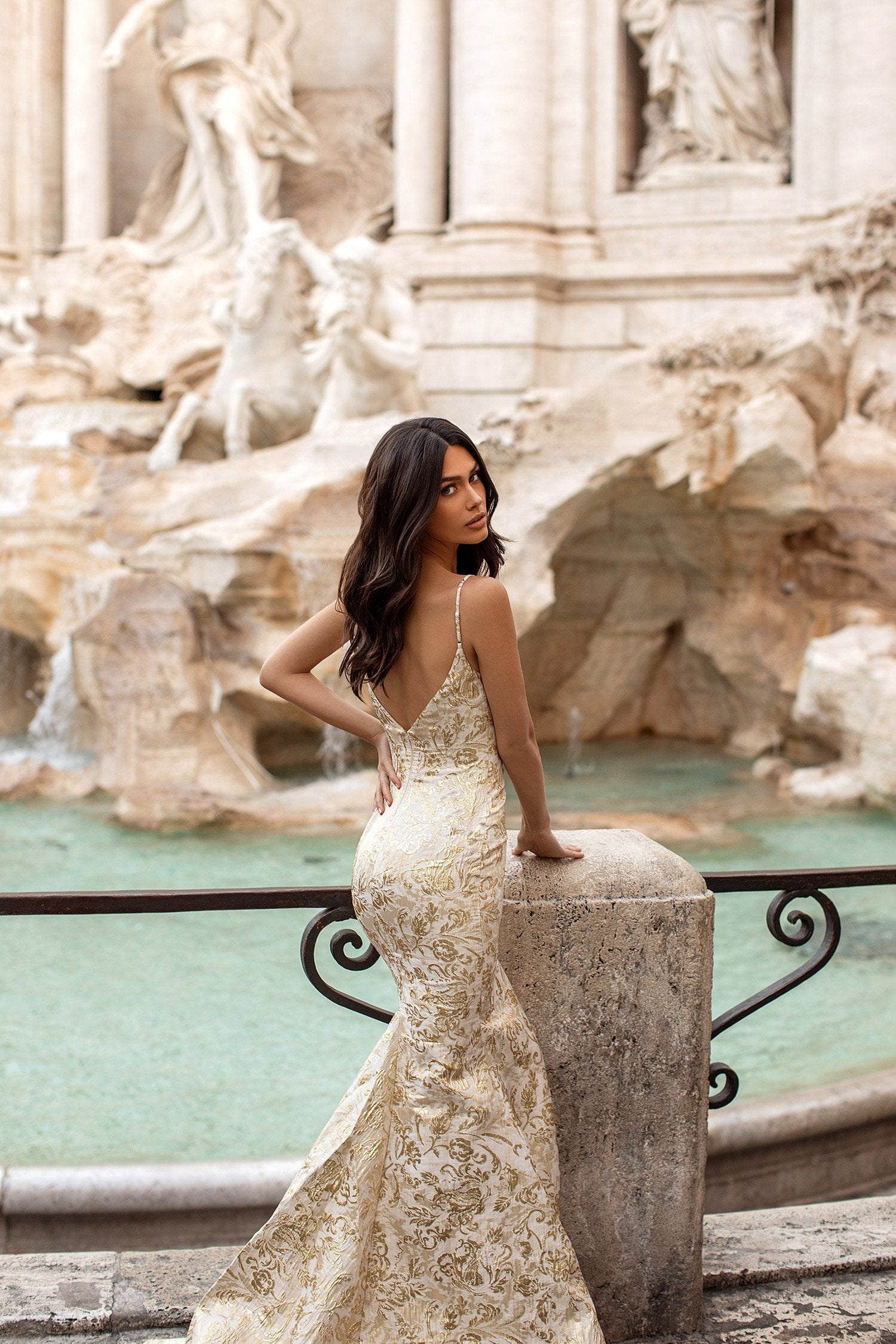 Tereza - Gold Patterned Gown with Plunge Neckline & Mermaid Train