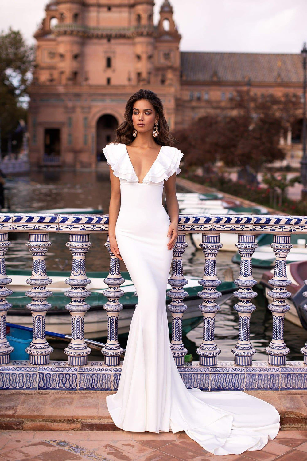 Rosaria - White Mermaid Gown with Frilly Bustier, Plunge Neck & Train