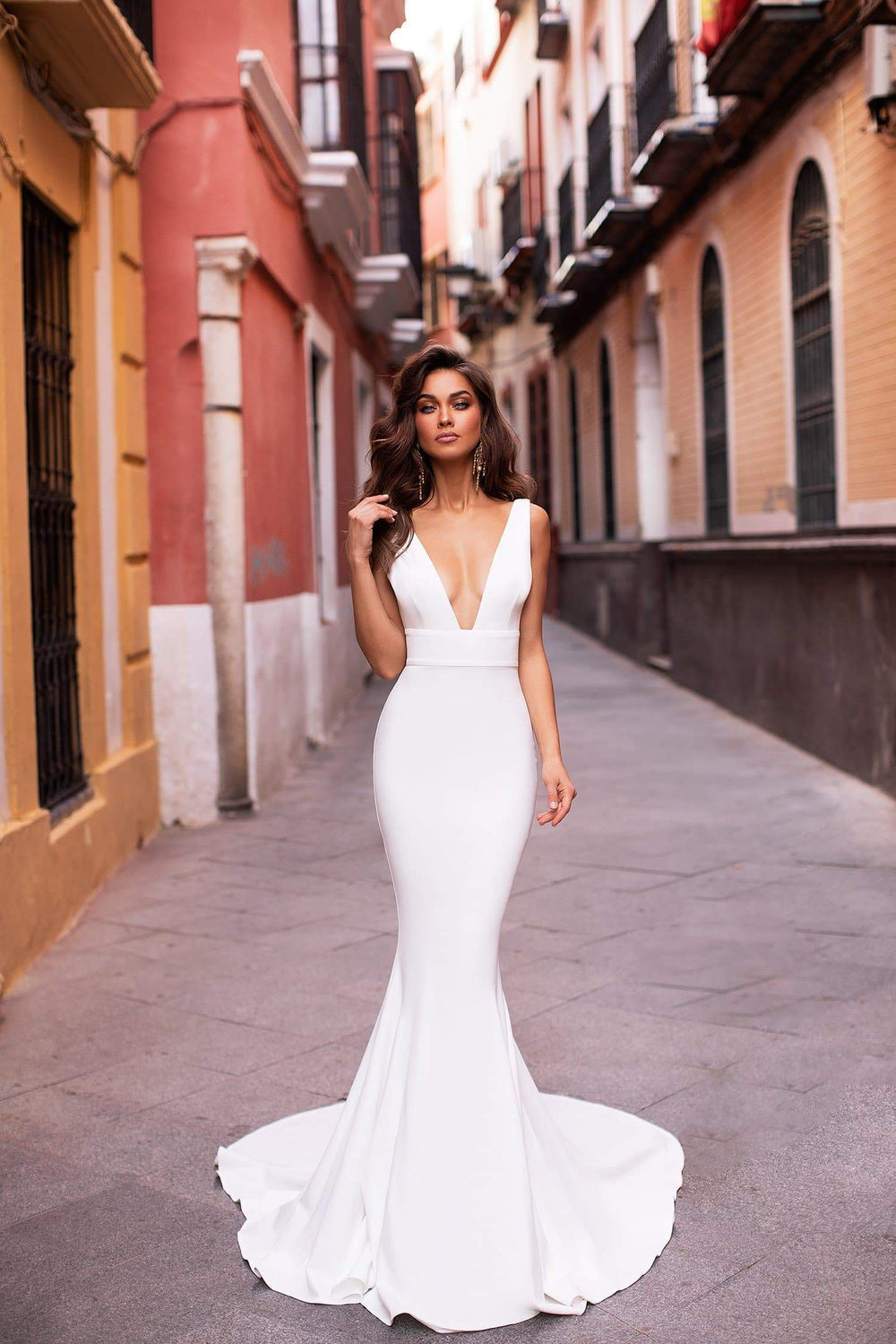 bf6abdc5fd46e2 Jovana - White Mermaid Gown with Plunge Neckline & Long Train