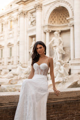 Ravena - White Lace A-line Gown with Bustier & Sheer Waist