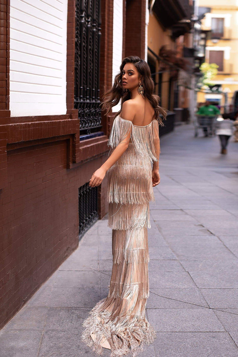 Elvira - Nude Off-Shoulder Fringe Gown with V-Neck