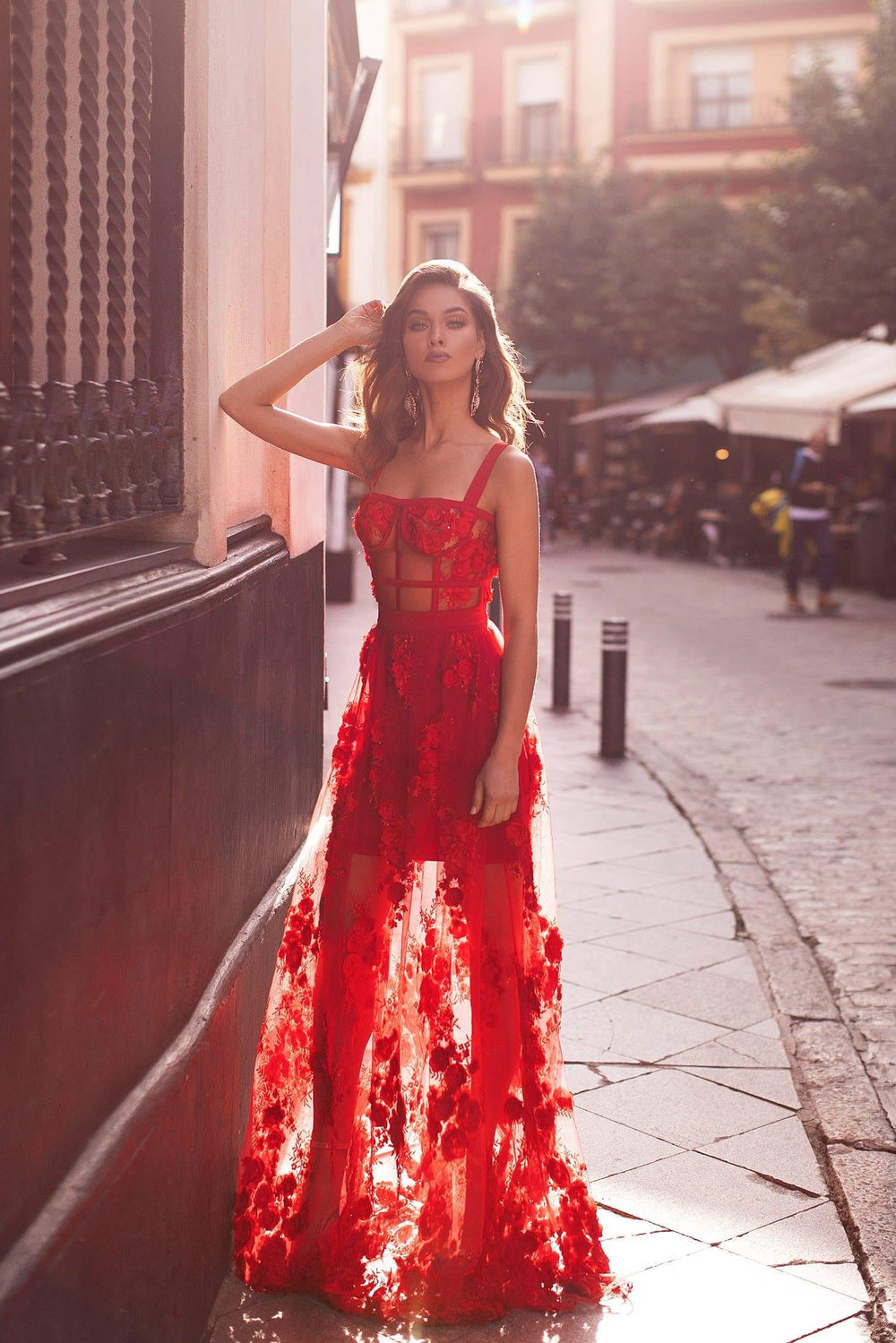 Mariella - Red 3D Floral Embellished Gown with Structured Bodice