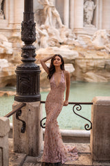 Valerie - Rose Gold Embellished Low Back Gown with Plunge Neck