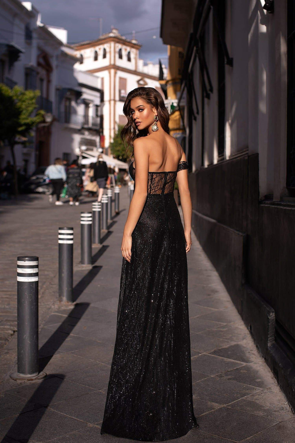 19a7cea868e7 Ayelet - Black Strapless Glitter Gown with Off-Shoulder Sleeve   Slit