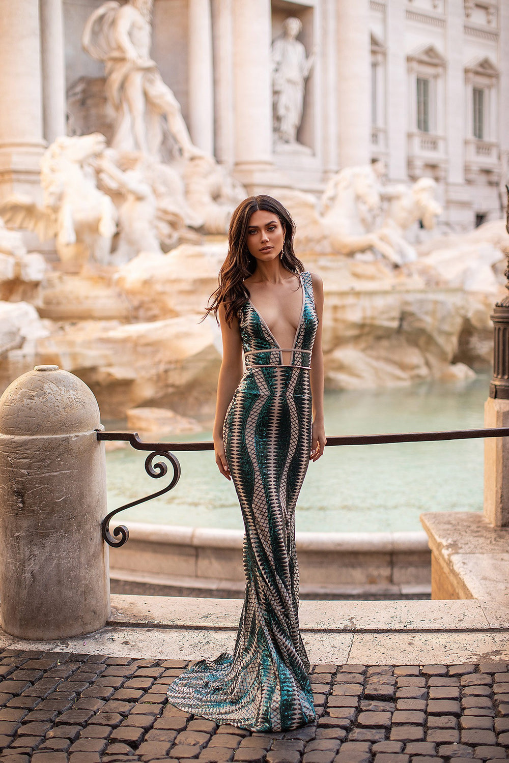 Paolina - Emerald Patterned Sequin Gown with Open Back & Plunge Neck