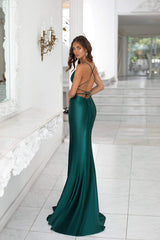 Desirae - Emerald Cowl Neck Satin Gown with Side Slit & Lace-Up Back