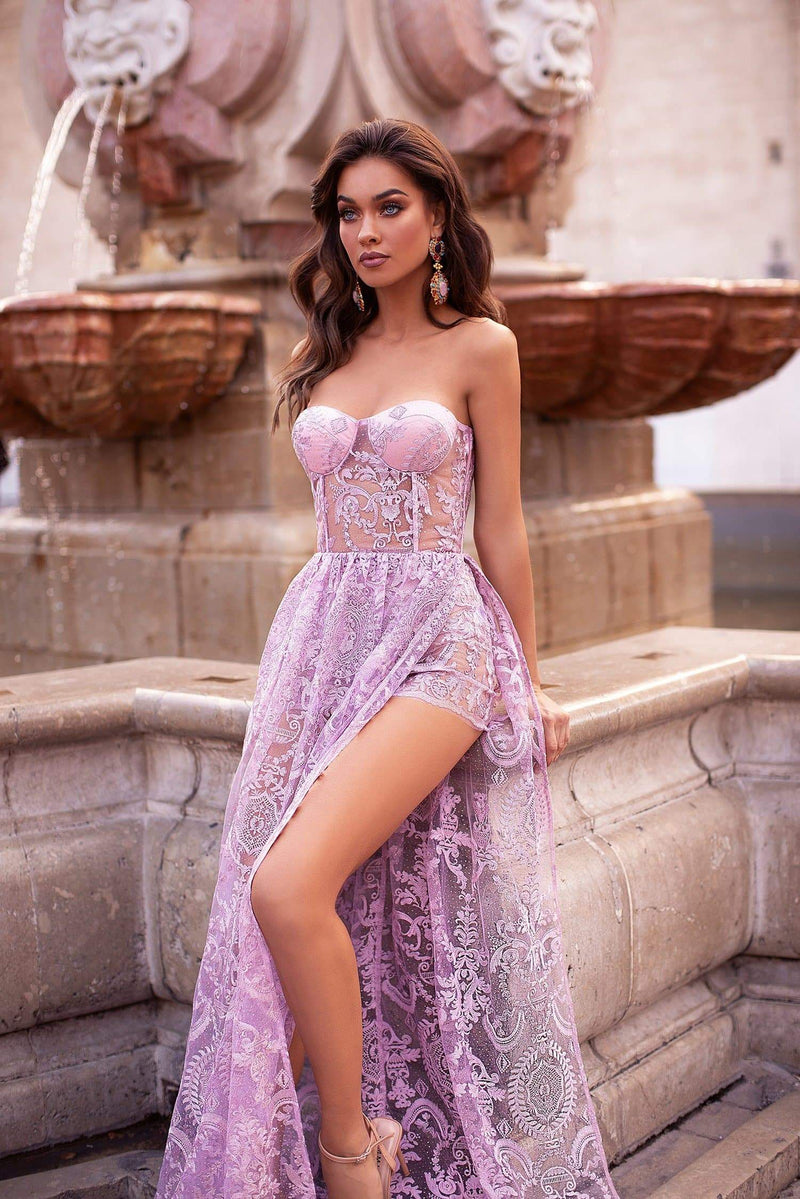 Rosalia - Lilac Strapless Shimmering Lace Gown with Side Slit