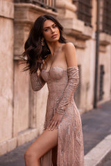 Chiarina - Rose Gold Long Sleeve Off-Shoulder Glitter Gown with Slits