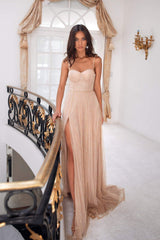 Oriana - Gold A-line Glitter Gown with Sweetheart Bodice & Side Slit