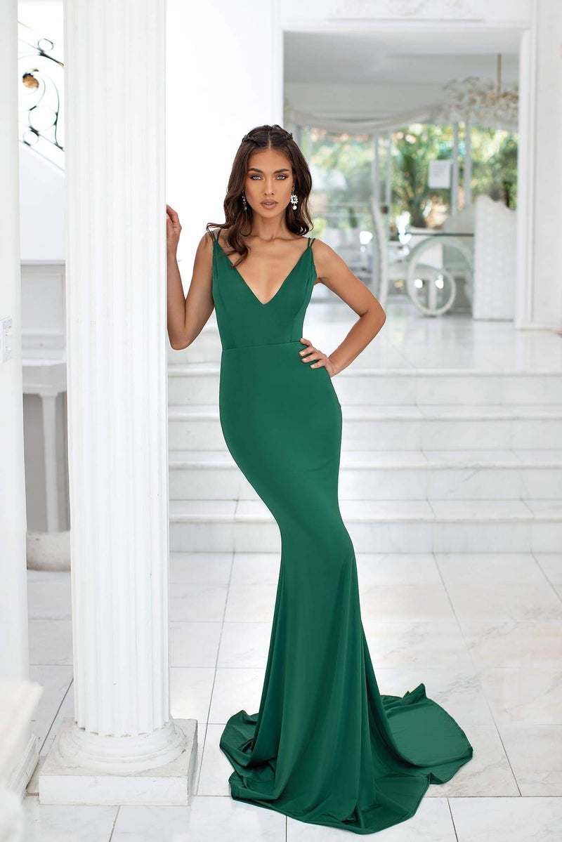 Maribel - Emerald Mermaid Gown with Plunge Neck & Tie-Up Back Detail