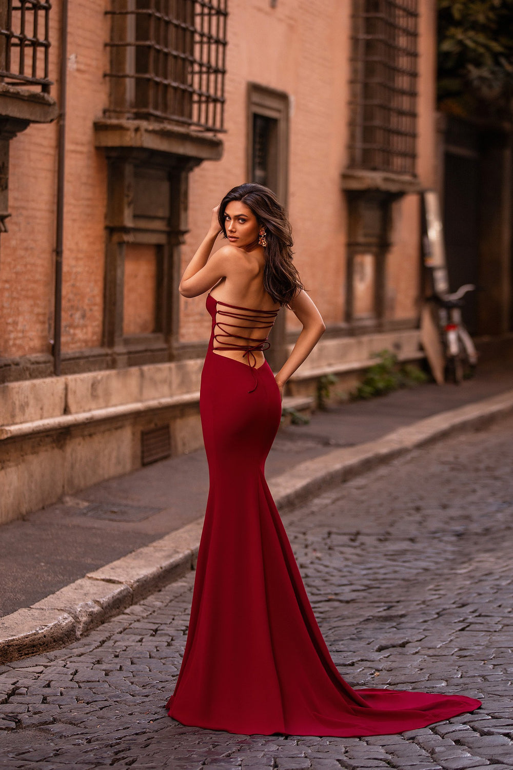Halina - Wine Red Strapless Gown with Lace-Up Back & Mermaid Train