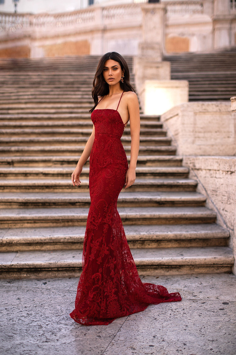 Alessandra - Wine Red Shimmering Lace Gown with Lace-Up Back