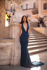 Pascale - Teal Mermaid Gown with Plunge Neck & Lace-Up Back