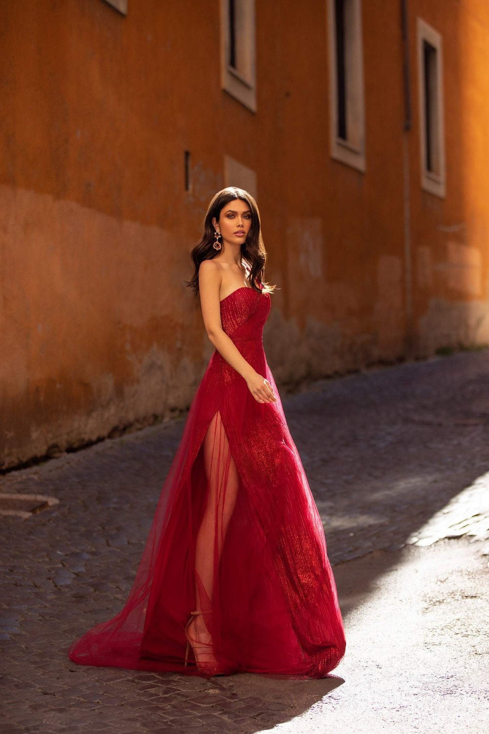 Silvia - Red One Shoulder Glitter Gown with Side Slit