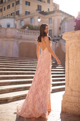 Anastasia - Dusty Pink Backless Lace Gown With Bustier and Side Slit