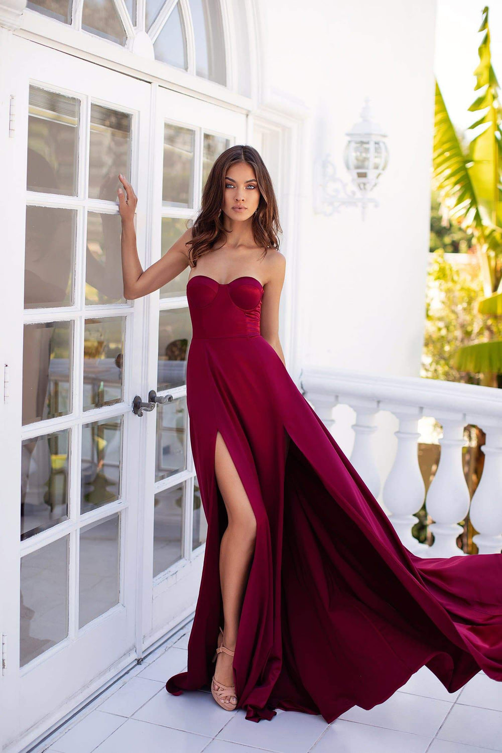 Rayna - Deep Red Strapless Satin Gown with Front Slits