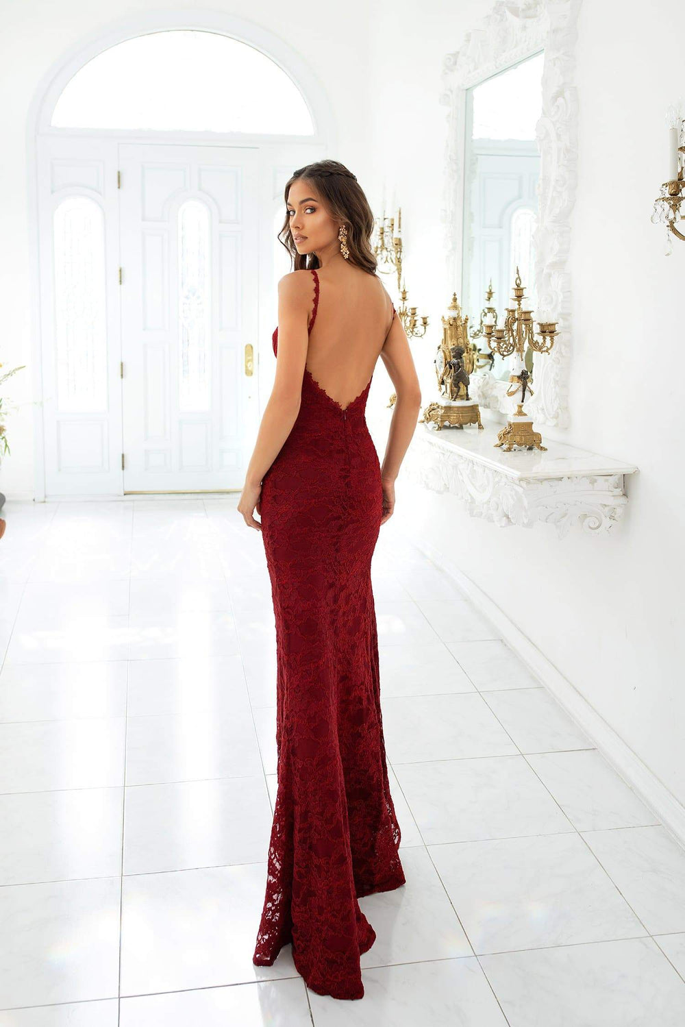 Caliana - Plum Lace Gown with Classic Bustier, Low Back & Side Slit