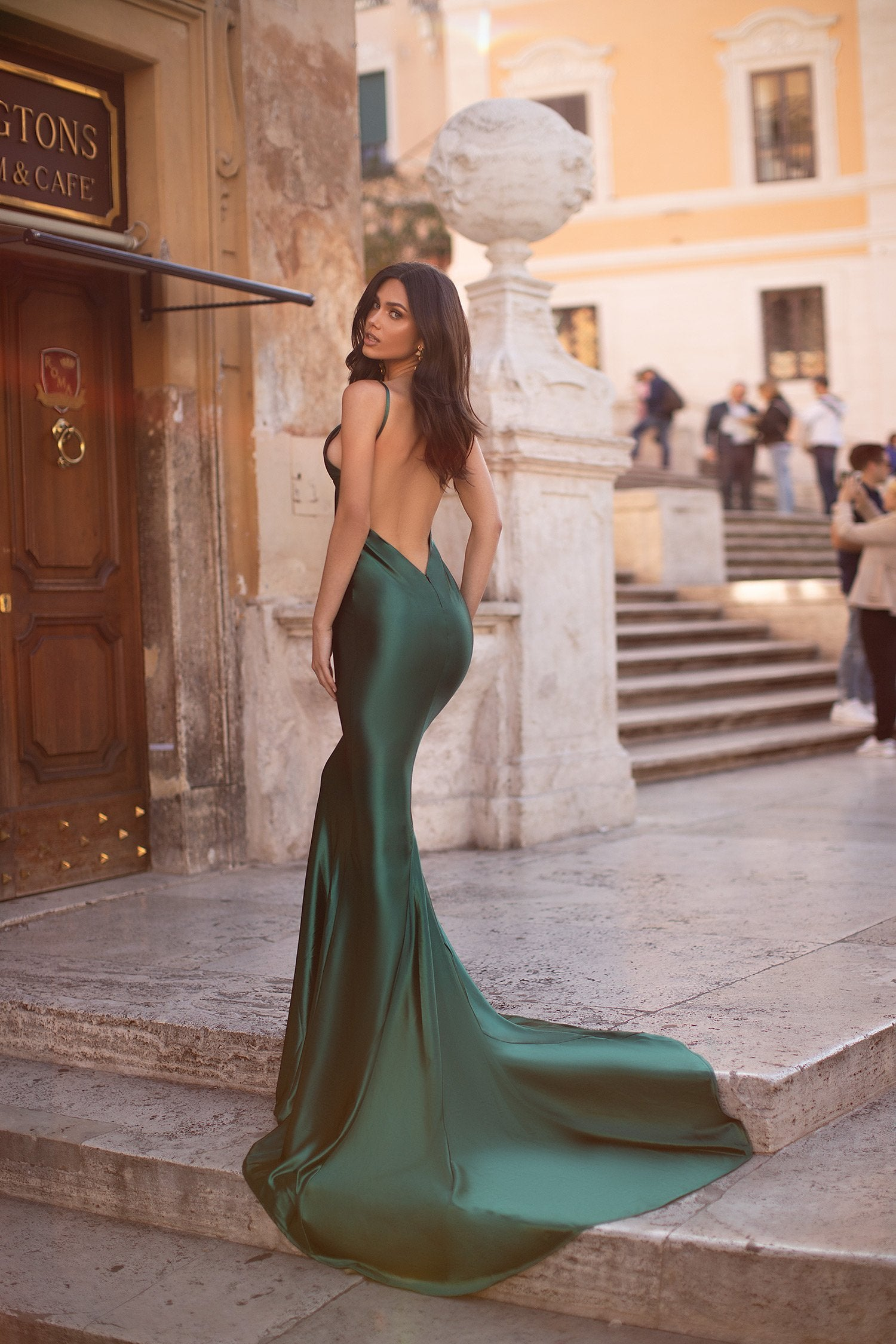 Dominica - Emerald Satin Backless Gown with Mermaid Train