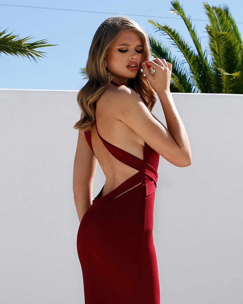 Ella - Burgundy Crepe Gown with Mermaid Train V Neckline & Low Back