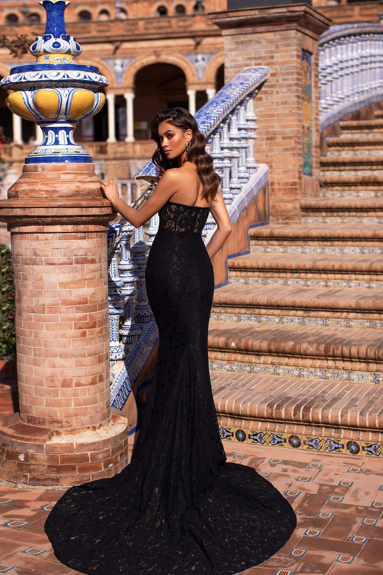 Rebeka - Black Strapless Sweetheart Premium Lace Gown with Sheer Waist