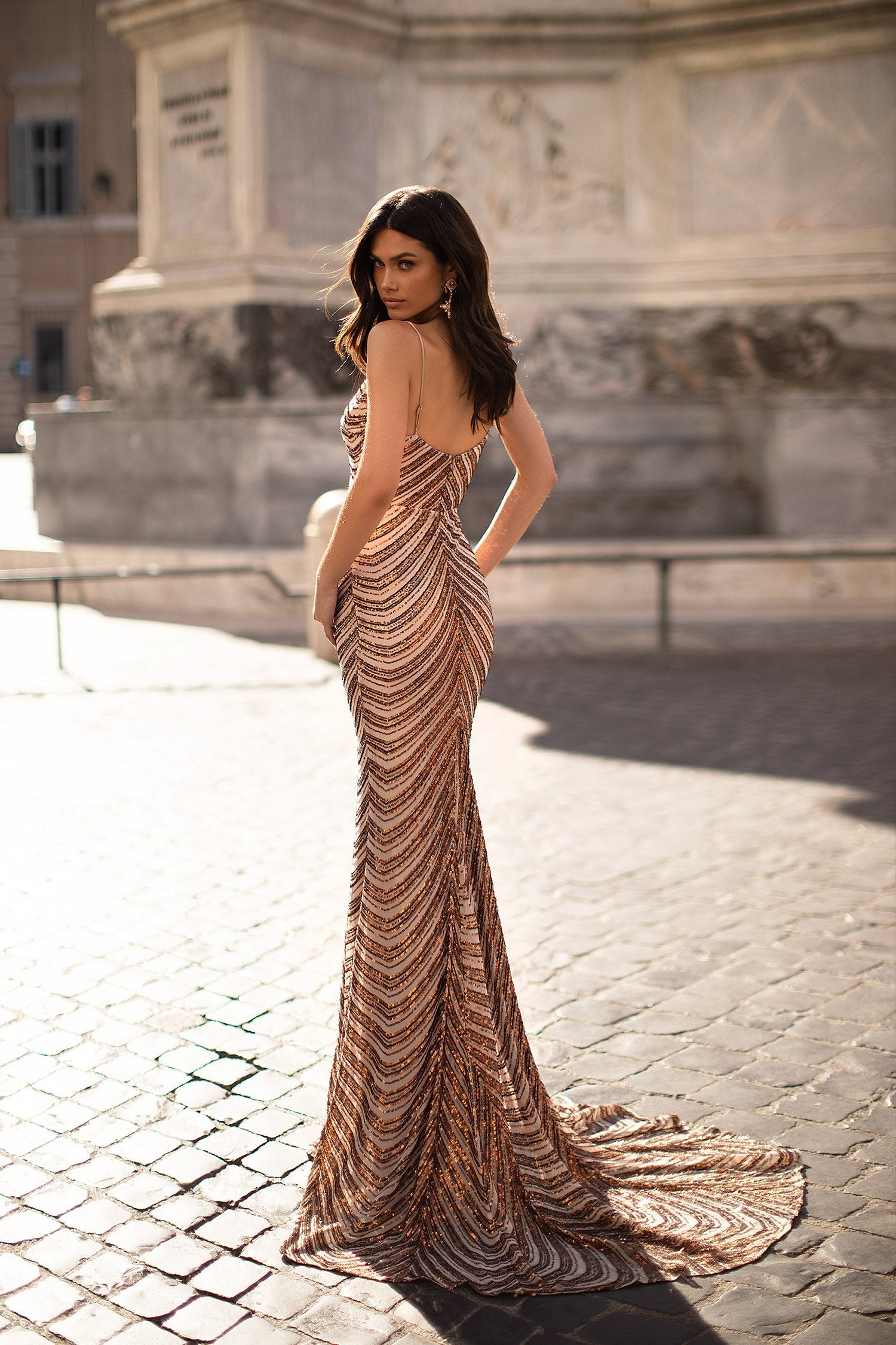 Abriana - Bronze Sequin Gown with Plunge Neck & Mermaid Train