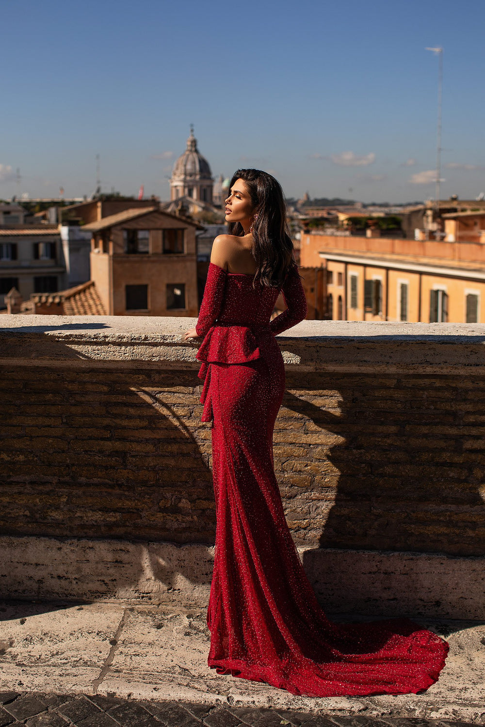 Irina - Wine Red Beaded Off-Shoulder Long Sleeve Gown with Side Slit