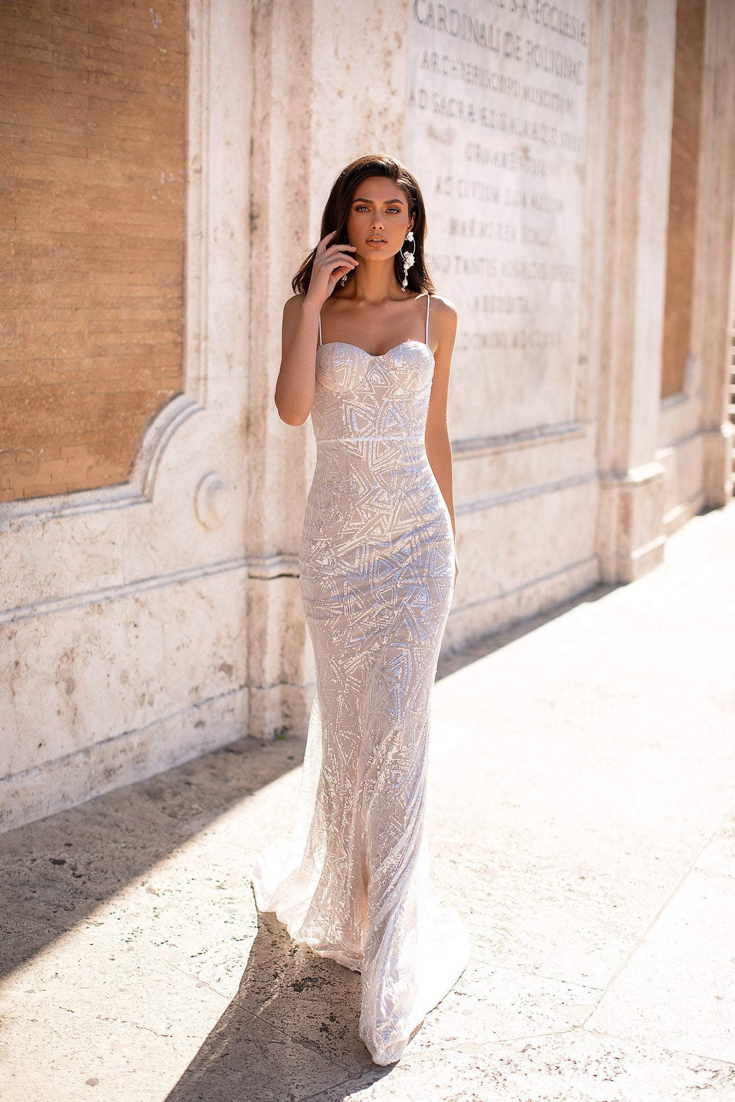 Constantia - White Sequin Gown with Sweetheart Neckline & Mermaid Train