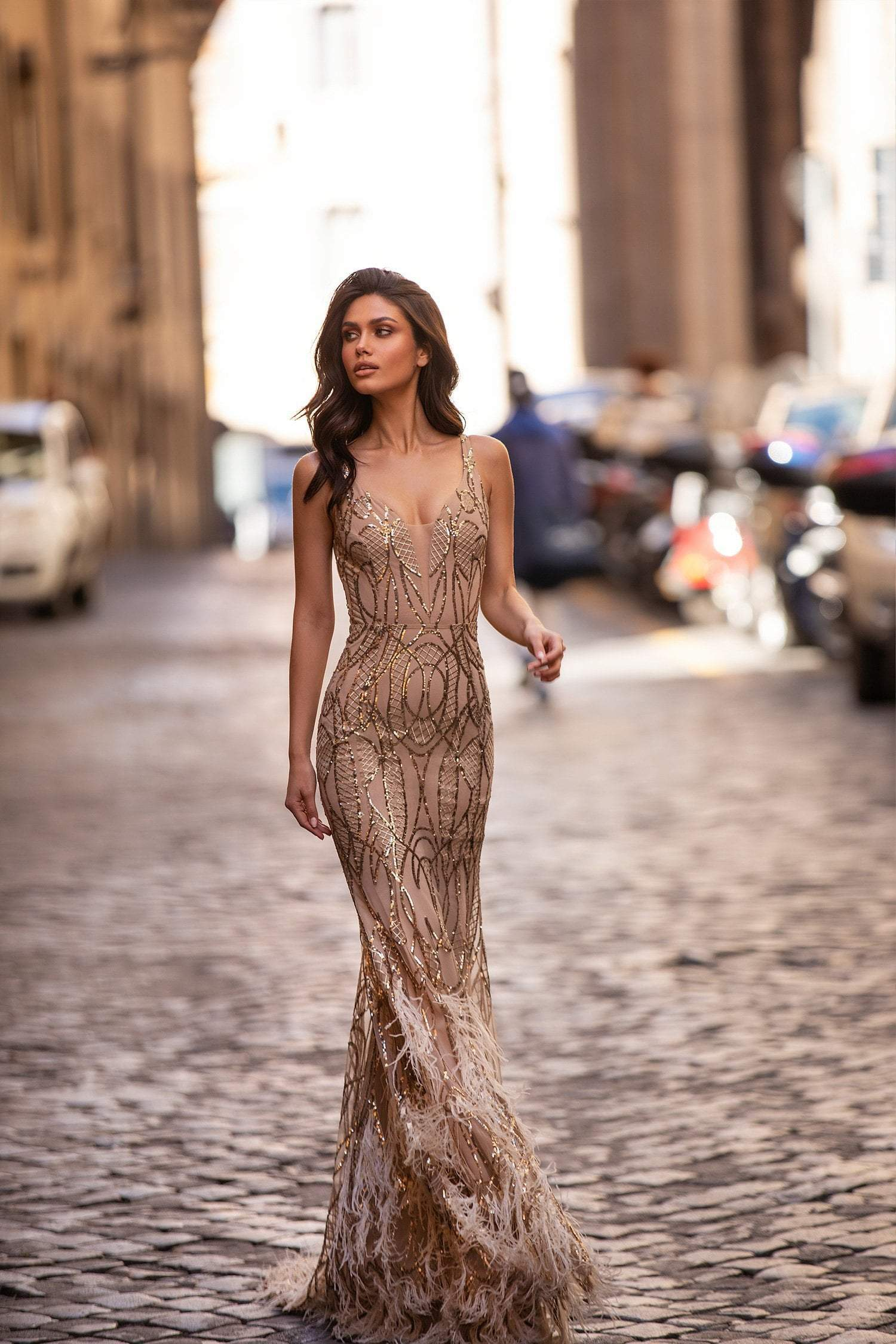 Natalya - Rose Gold Sequin Gown with V-Neckline & Feathered Train