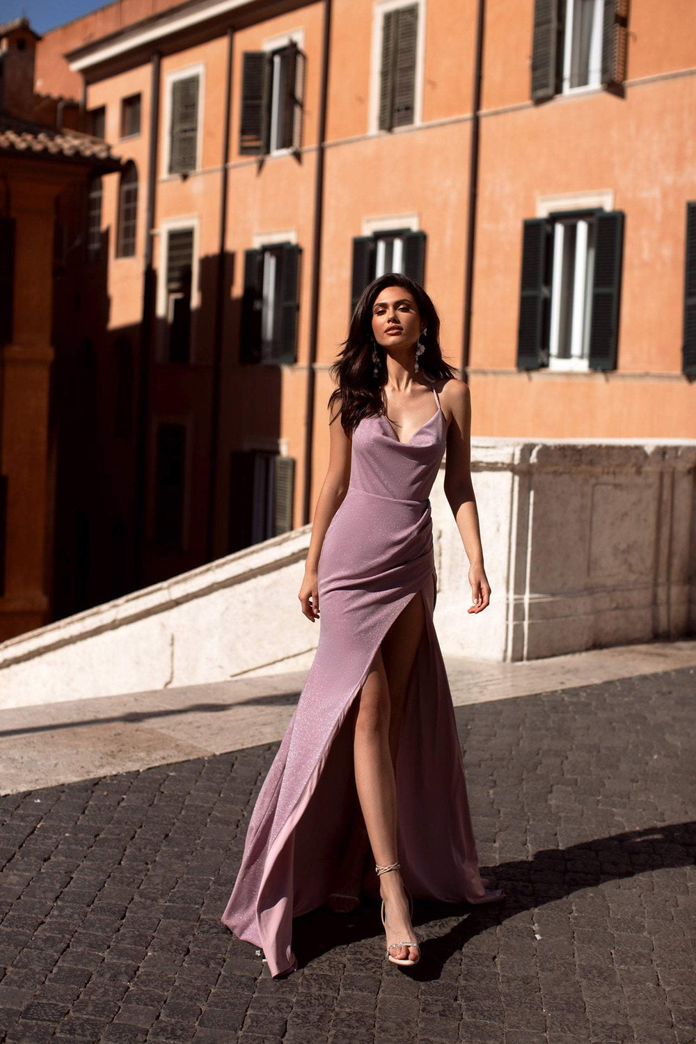 Clarice - Mauve Backless Shimmering Lurex Gown with Cowl Neck & Slit