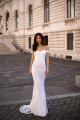 Dalia - White 3D Floral Embellished Off-Shoulder Mermaid Gown