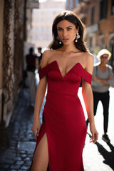 Lorenza - Red Off-Shoulder Satin Gown with Side Slit & Mermaid Train