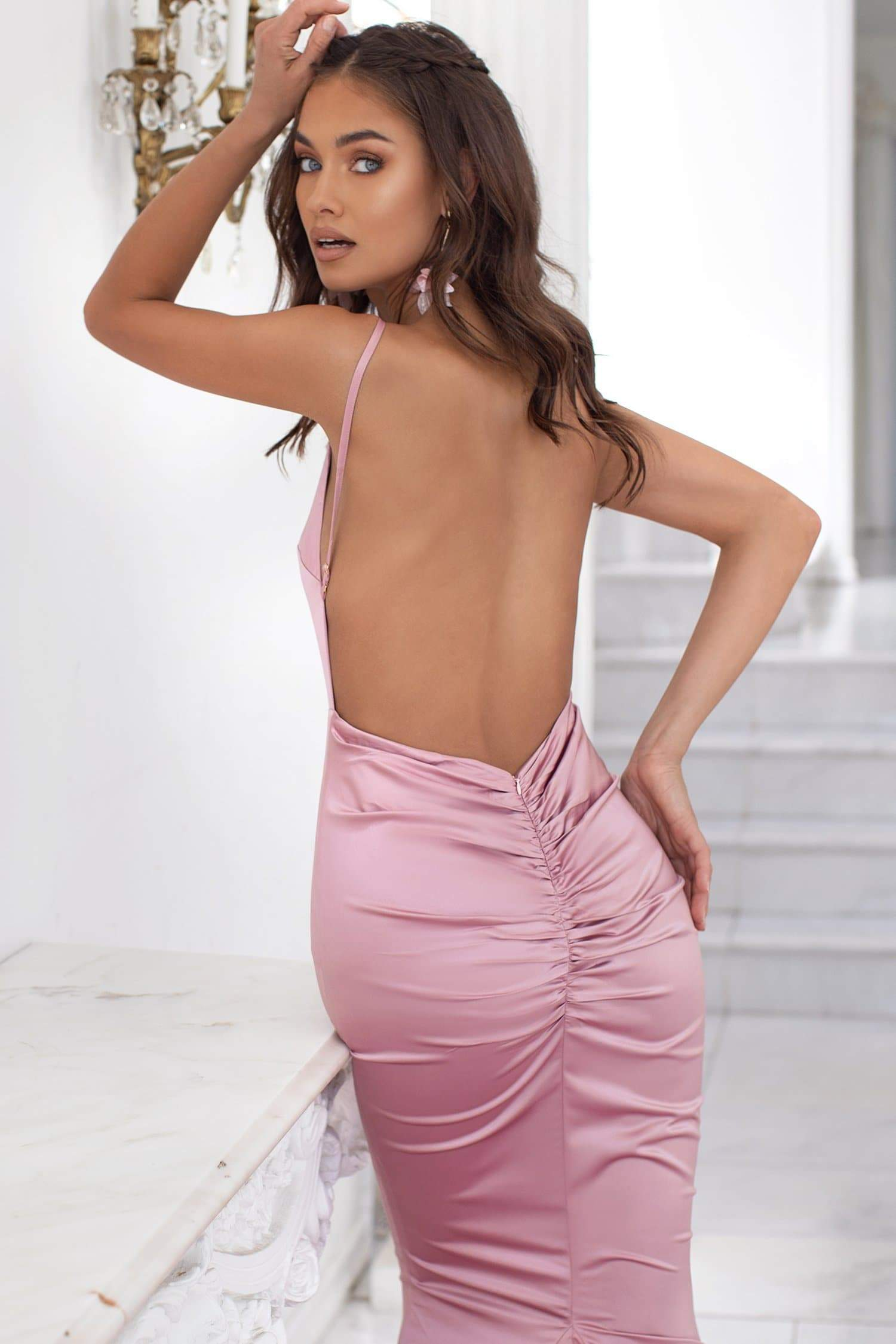 Delara - Pink Satin Mermaid Gown with Straight Neckline & Low Back