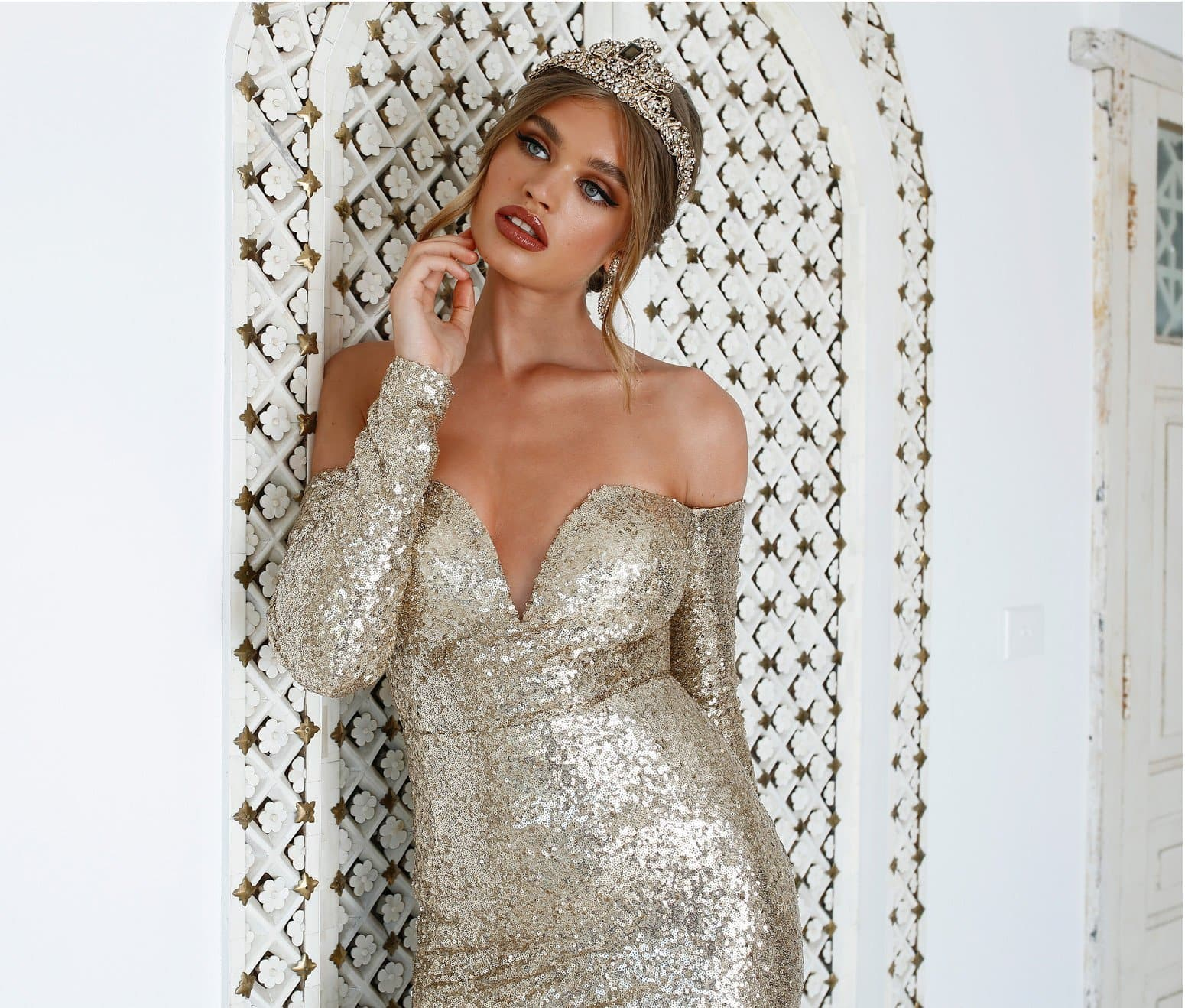 Diamanda Gown - Gold Sequin Off Shoulder Long Sleeve Mermaid Dress