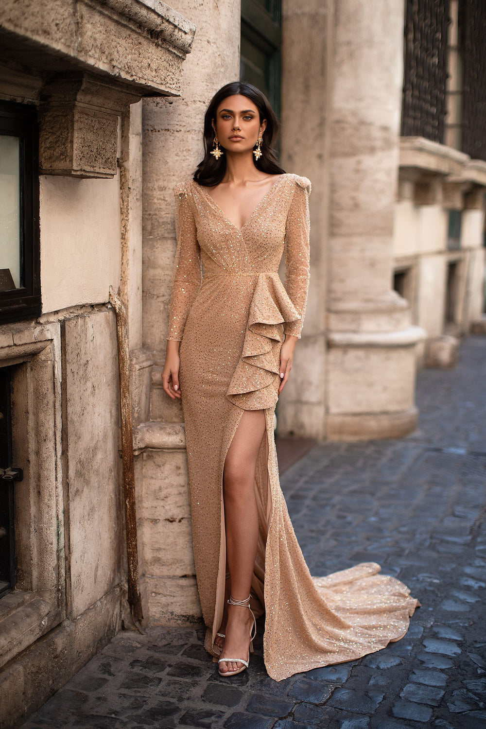 Giulia - Gold Beaded Gown with Long Sleeves, Side Slit & Frill Detail