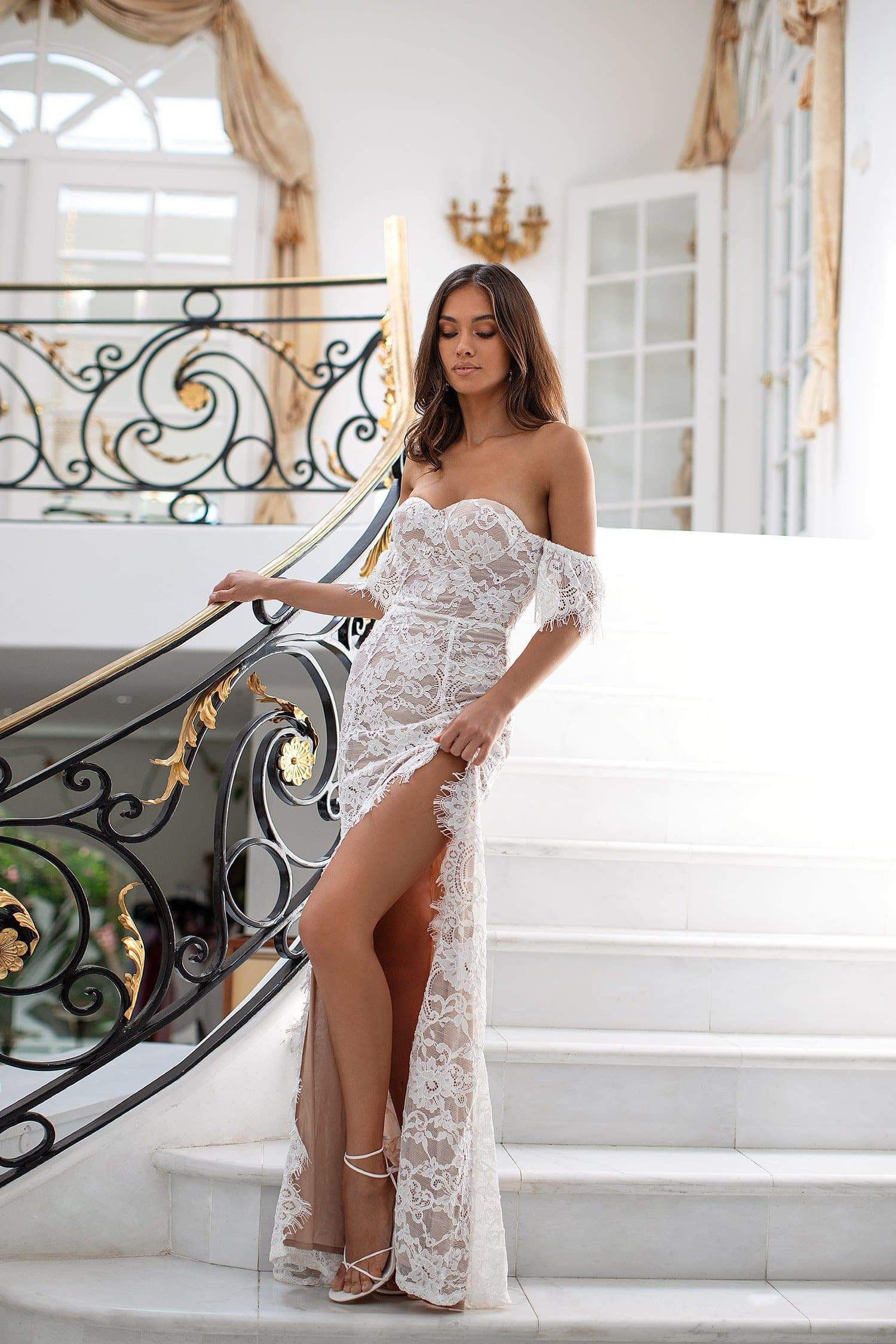 Adabelle - White Lace Off-Shoulder Gown With Side Slit & Nude Lining