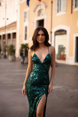 Genelle - Emerald Sequin Gown with Lace-Up Back and Side Slit