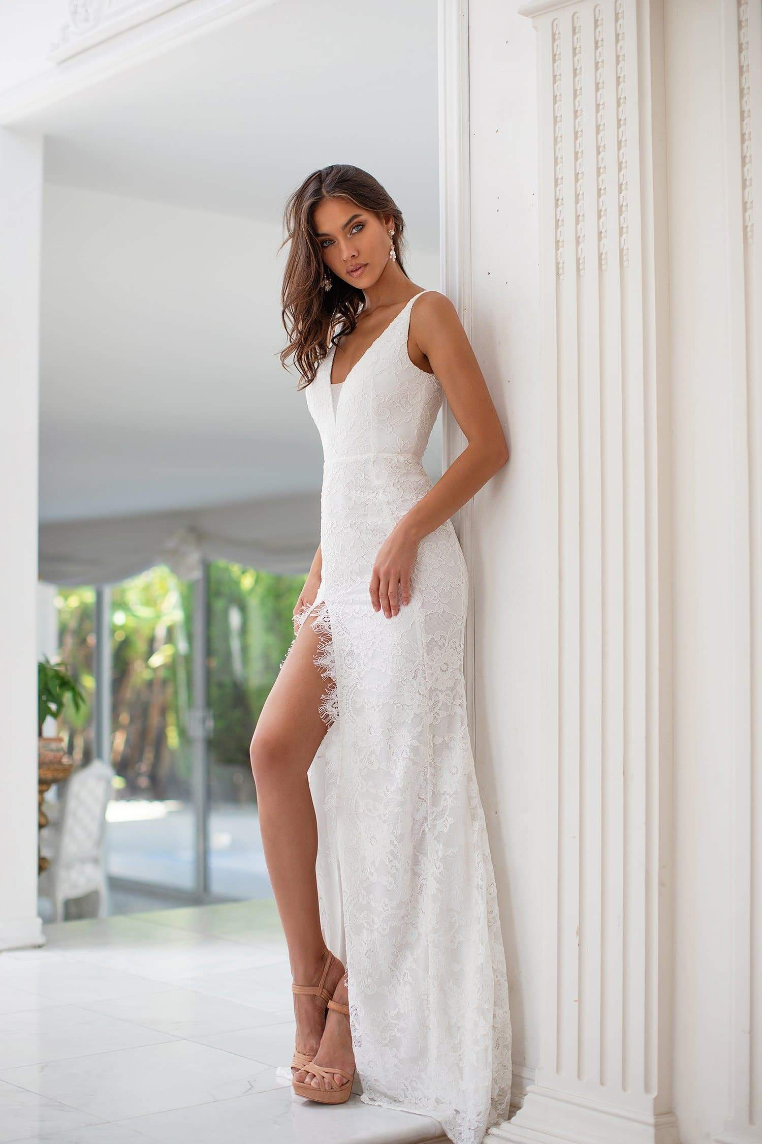 Nia - White Lace Gown with side Slit & V Neckline