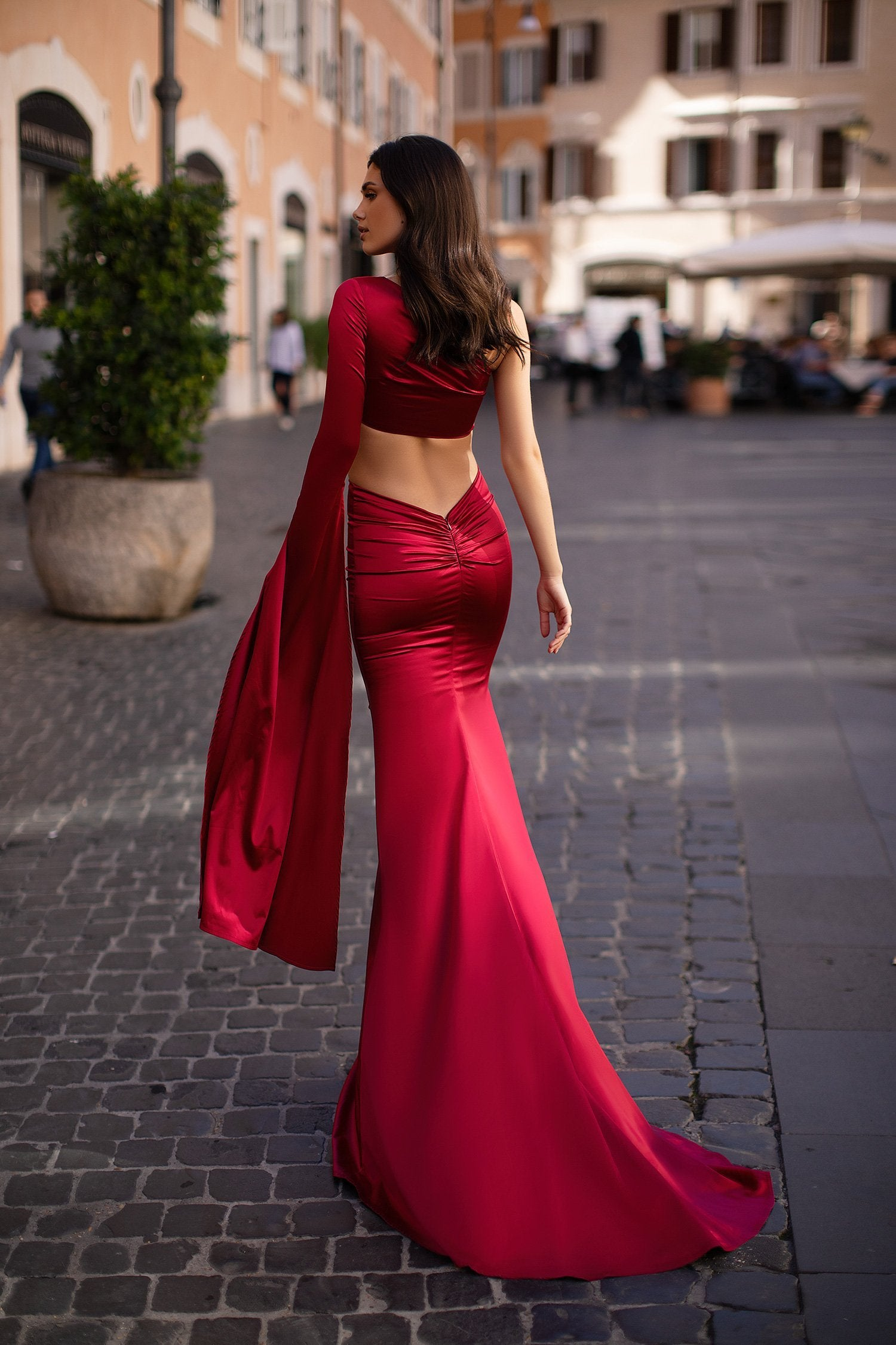 Miya - Red Two Piece One-Shoulder Satin Gown with Long Sleeve