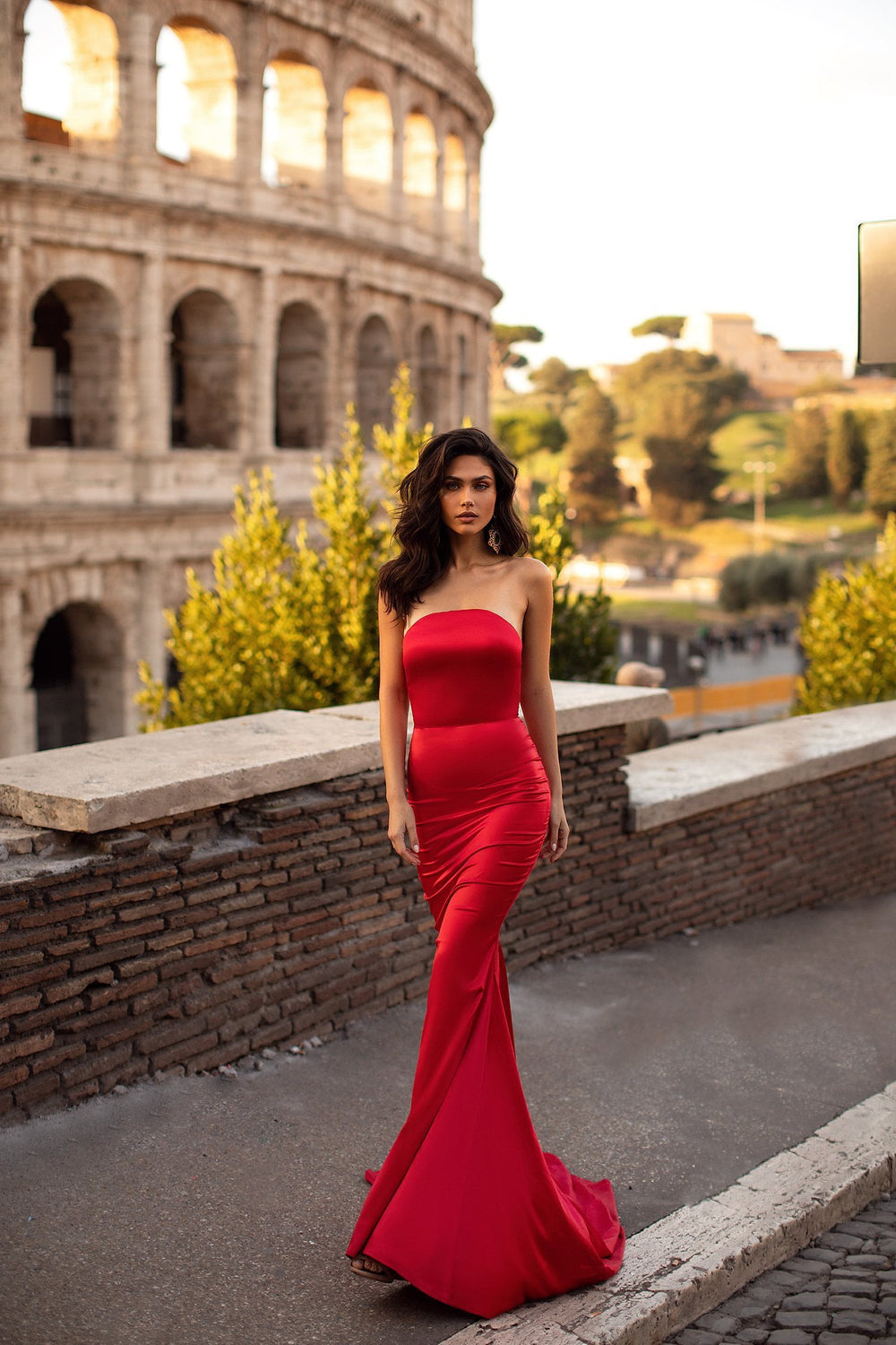 Acacia - Red Strapless Satin Gown with Mermaid Train