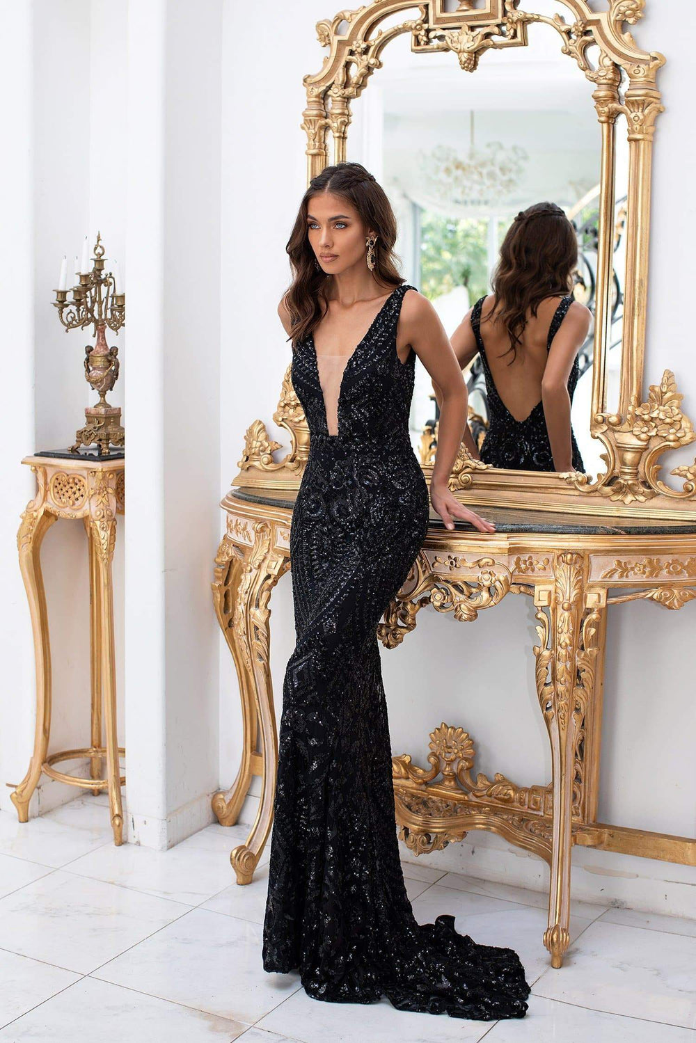 Luriana - Black Sequins Mermaid Gown with Plunge Neck & Low Back