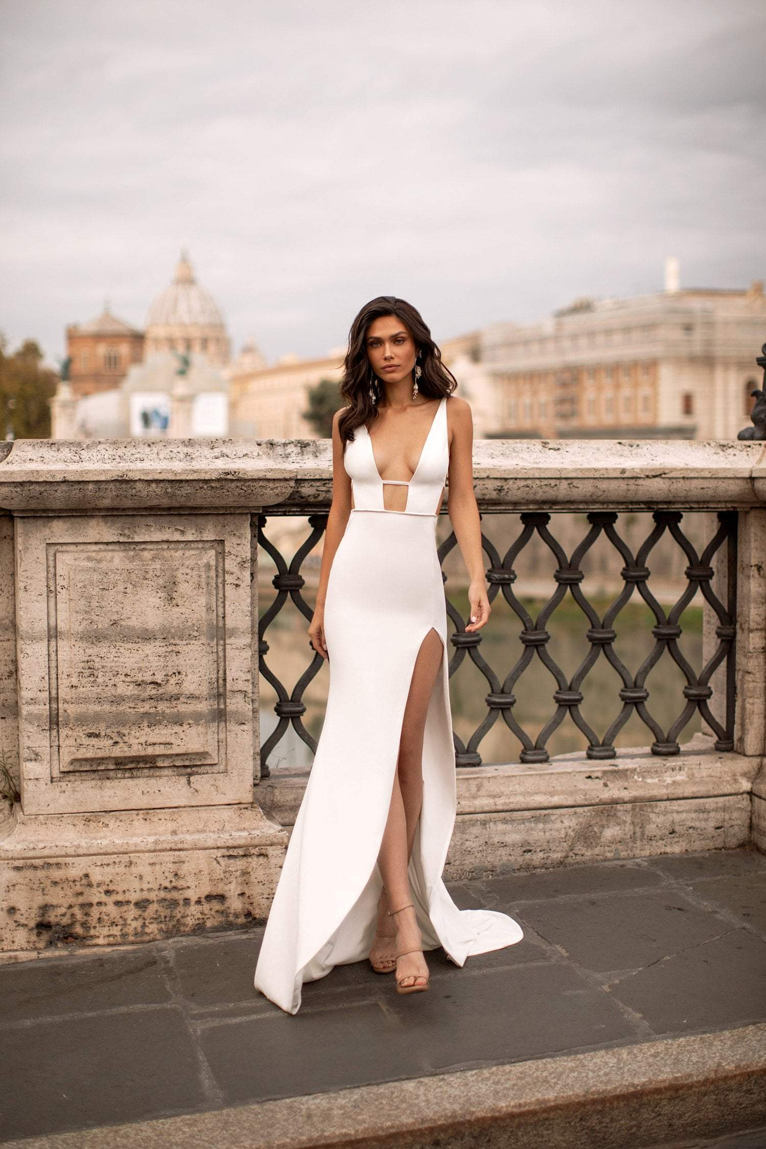 Marcella - White Low Back Gown with Plunge Neck & Side Slit