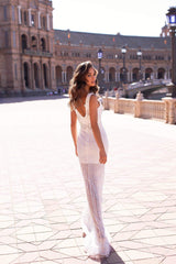 Carmelia - White Beaded Sequin Gown with V-neck & Low Back