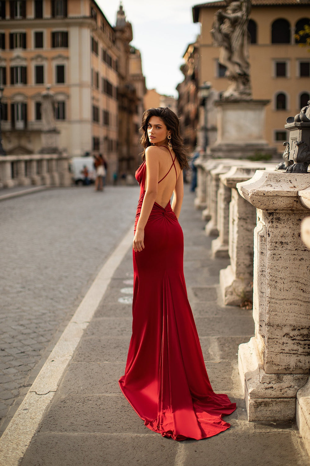 Maya - Wine Red Cowl Neck Gown with Low Back, Knot Detail & Side Slit