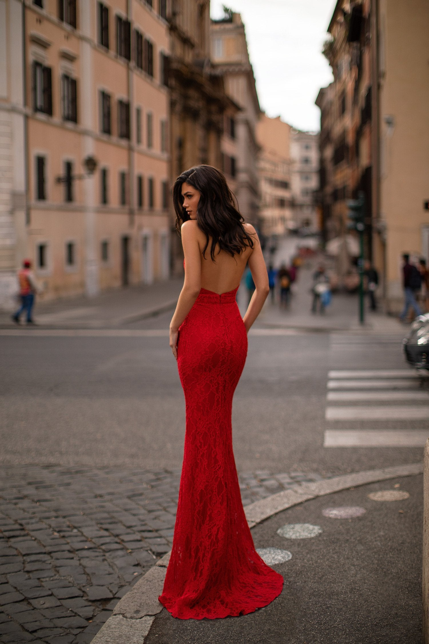 Raelyn - Red Halter Plunge Neck Backless Lace Mermaid Gown